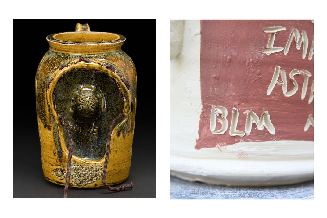 Left: Yellow glazed ceramic jug with a cutout in the side, resembling the hood of a sweatshirt. Inside, carved in the inner wall of the jug, is the face of a boy. Brown cloth pullstrings come out of the hoodie shape. Right: Closeup on a white ceramic jug