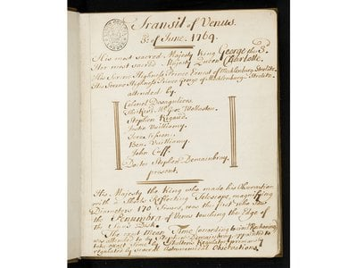 The manuscript notebook is comprised of astronomical observations with tables of viewing data, describing transit witnessed by King George III and others, 3 June 1769, with notes signed by Stephen Demainbray, astronomer.