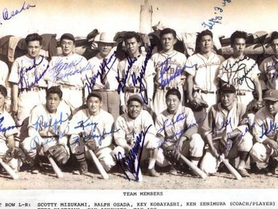 The all-star team from Gila River (Arizona) that played at Heart Mountain (Wyoming). Tetsuo Furukawa is in the top row, fourth from the right.