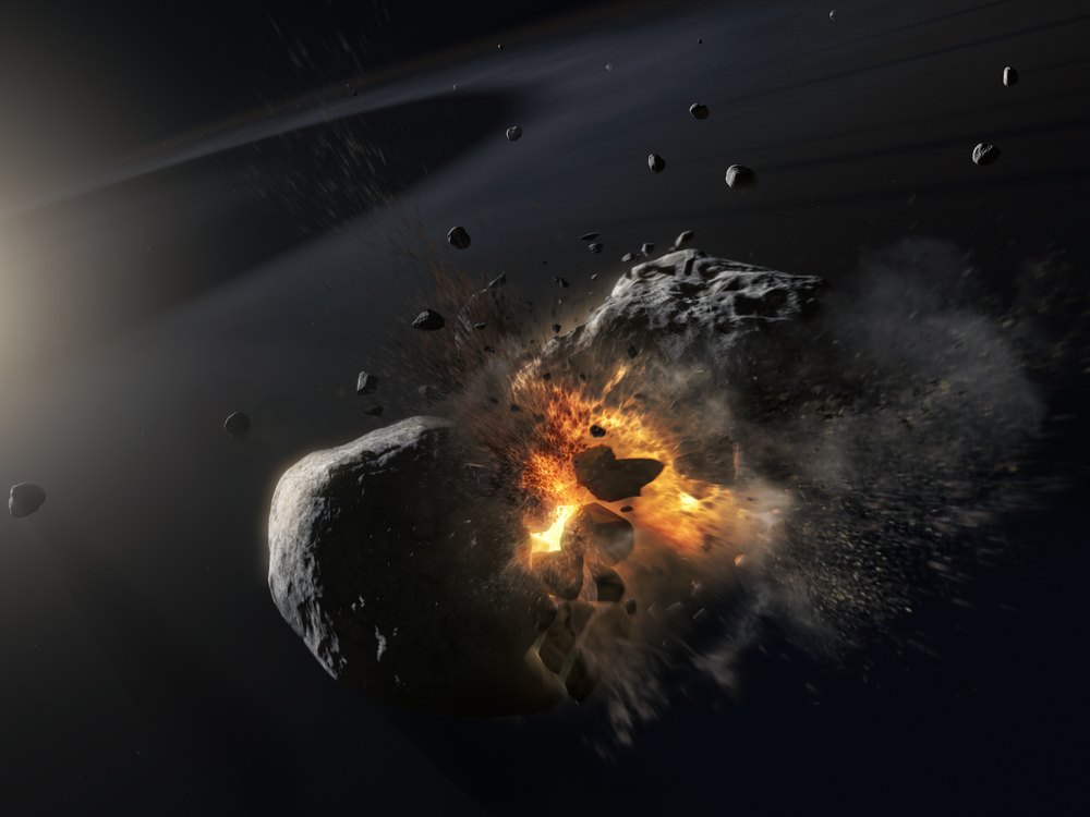 Artist's depiction of asteroid collision