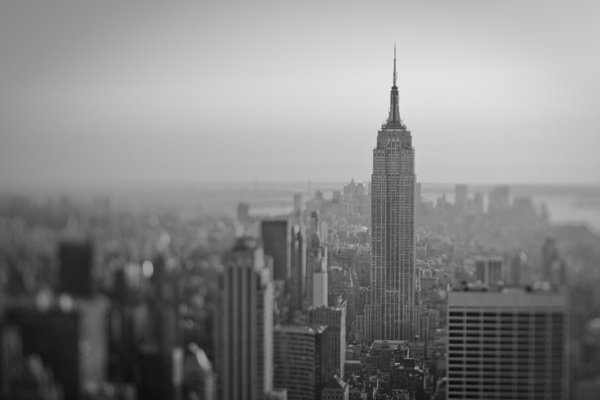 Empire State Building in New York City, taken with a tilt shift lens. thumbnail