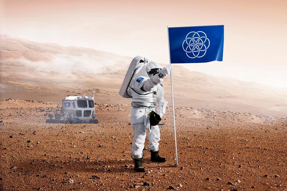Earth flag on Mars