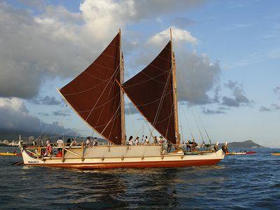 Hokule'a departs on 4-year worldwide voyage from Honolulu in May 2014.