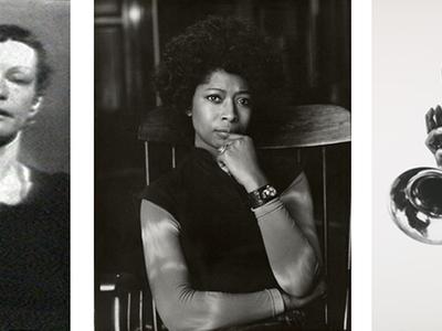 """From left: """"Left Side Right Side"""" (still) by Joan Jonas, 1972. Alice Walker by Bernard Gotfryd. Louis Armstrong (detail) by Philippe Halsman."""