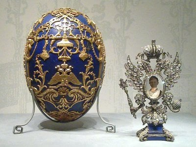 The Imperial Tsesarevich Easter Egg currently on display at the Virginia Museum of Fine Arts.