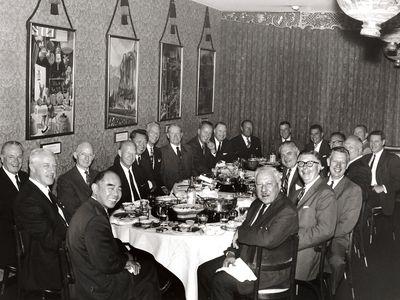 Restaurateur Johnny Kan in the center, 1965
