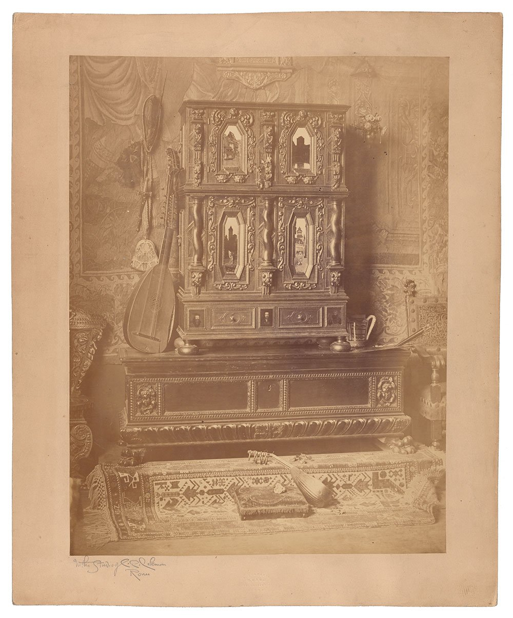 Photograph of Nuremburg Cabinet with insets painted by Charles Caryl Coleman