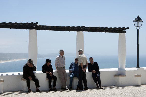Men's daily talk in Nazare, Portugal thumbnail