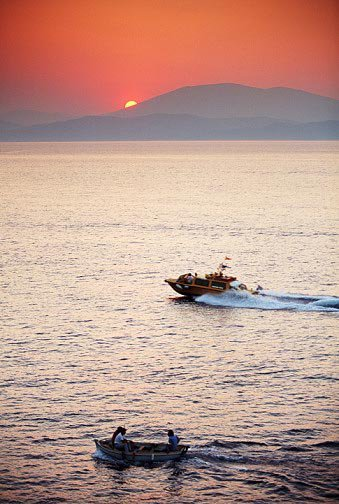 Boats in Hydra Greece bay