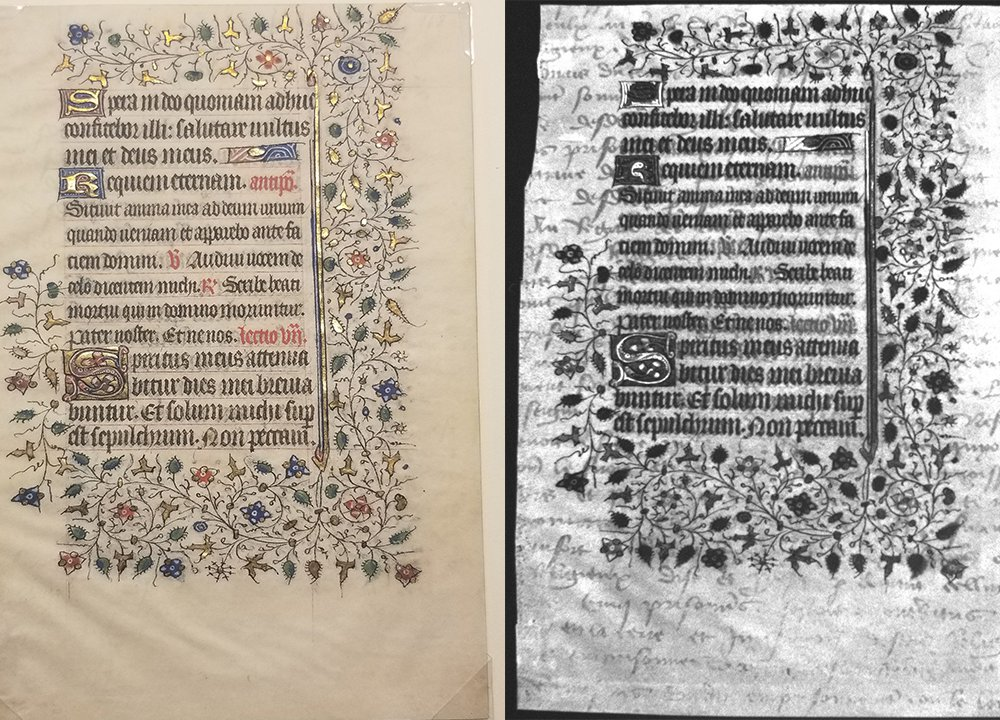 Left, an illustrated manuscript image in color; paper is a pale yellow and ornate Gothic text surrounded by ivy and flowers; right, the same text is black-and-white with the traces of dense cursive script visible, layered below