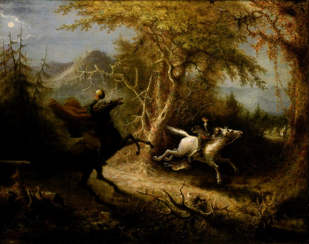 A painting of a landscape with a man on a horse and a missing head.