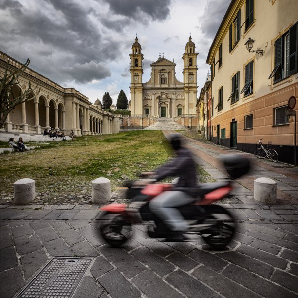 Zooming past the Plaza of St. Stefano Church, Lavagna, Italy thumbnail