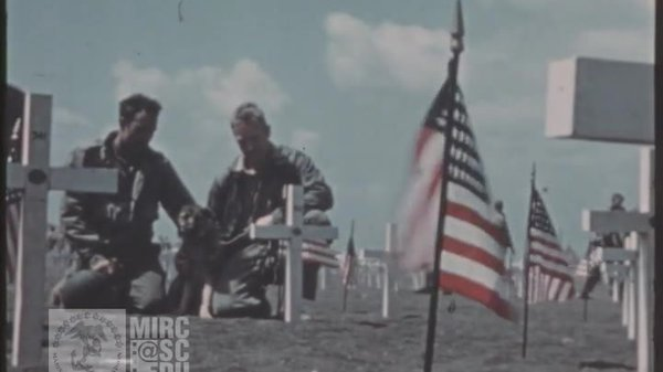 Preview thumbnail for U.S. Marine Corps Archival Footage: 5th Div. Cemetery Dedication on Iwo Jima