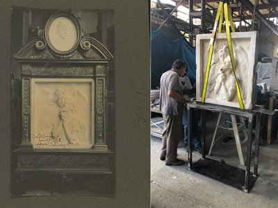 The Rebecca Salome Foster monument pictured before (left) and after (right) restoration