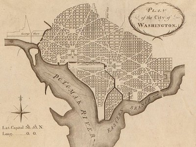 Pierre Charles L'Enfant's Plan for Washington D.C., as revised by Andrew Ellicott. Engraved by Thackara and Vallance sc.