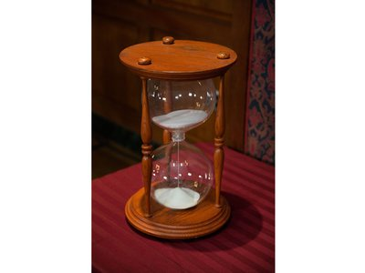 """The crew promised the donation of the iconic two-foot hourglass and the original audio tape of late cast member MacDonald Carey saying, """"like sands through the hourglass, so are the days of our lives."""""""