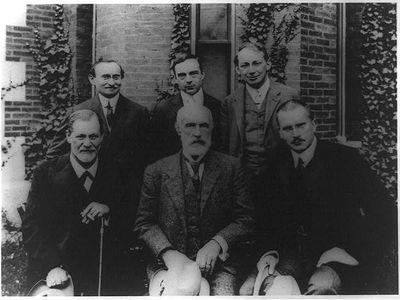 Sigmund Freud, G. Stanley Hall, C.G. Jung, A.A. Brill, Ernest Jones, and Sándor Ferenczi posed at Clark University, Worcester, Massachusetts in September, 1909.