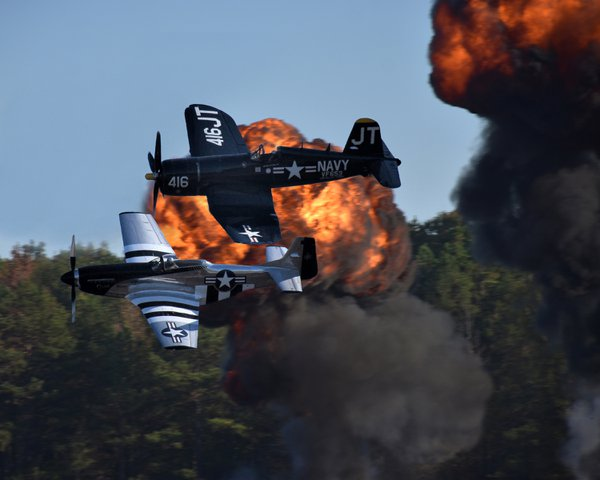 World War II fighters during re-enactment thumbnail