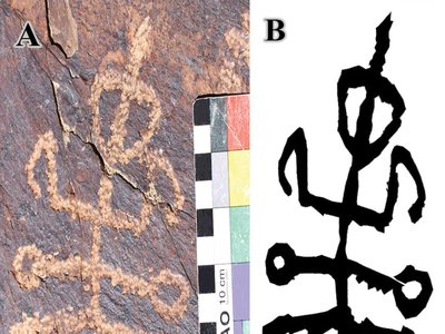 A part-human, part-insect glyph found in Iran