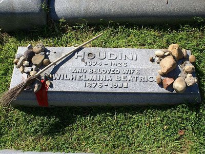 Houdini's grave at the Machpelah Cemetery in Queens.
