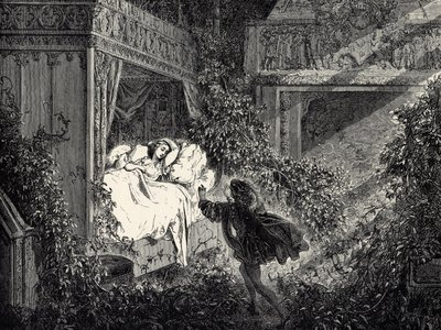 A 19th-century illustration of 'Sleeping Beauty' by artist Gustave Doré