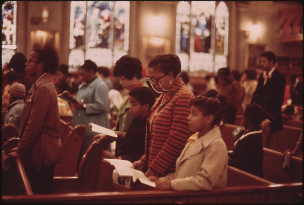 Worshippers at Holy Angel Catholic Church on Chicago's South Side, in October, 1973.