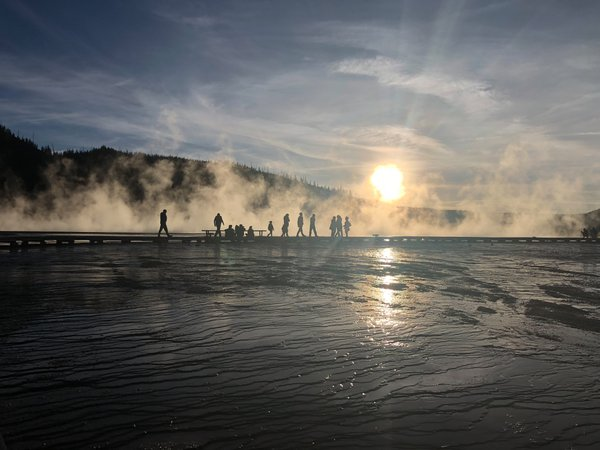 Yellowstone Grand Prismatic Spring Sunset Silhouette thumbnail