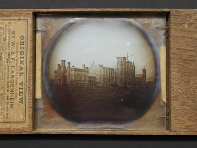 A hyalotype photo printed and mounted as a glass lantern slide, by William and Frederick Langenheim.