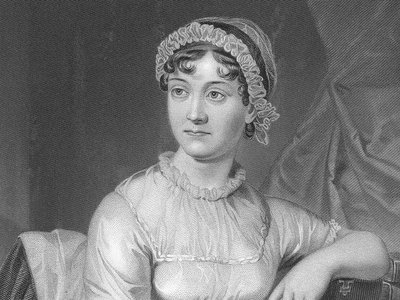 """A re-engraving of the best-known picture of Jane Austen, the """"memoir portrait,"""" based on a drawing by her sister Cassandra."""
