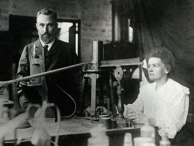 Marie and Pierre Curie in the laboratory.