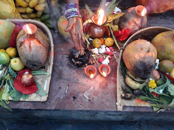 Close up of the worship dalas of Chhat festival thumbnail