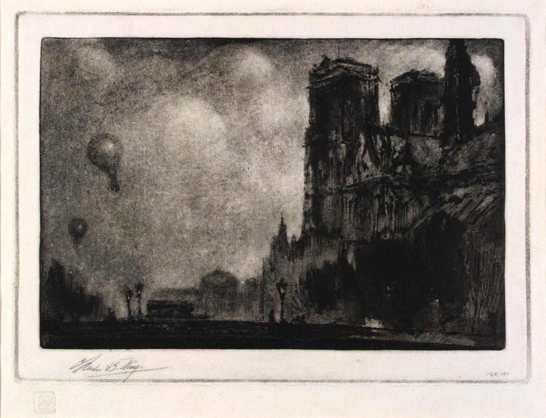 A painting of the side of Notre Dame.