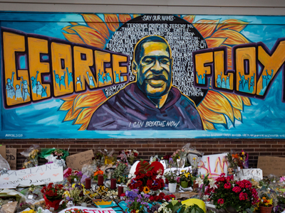 A makeshift memorial and mural outside Cup Foods, where George Floyd was killed by a Minneapolis police officer on Sunday, May 31