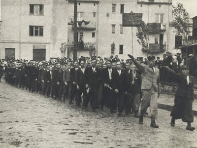 """Parade of volunteers for Waffen-SS Division """"Galicia"""" in Buczacz, 1943"""