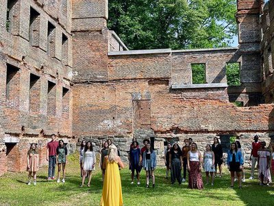 The choir performs at the ruins of a mill in Sweetwater Creek State Park in Douglas County, Georgia