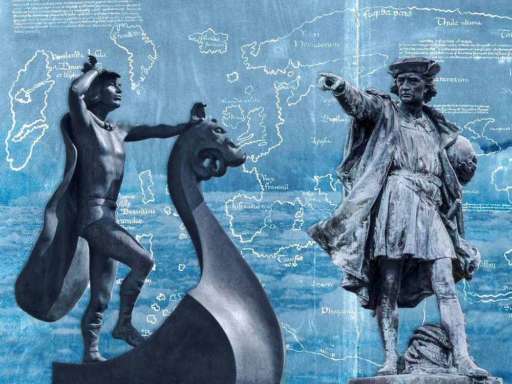 Illustration of Leif Eriksson and Christopher Columbus statues with Vinland Map in the background