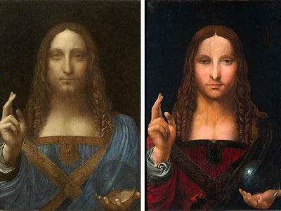 Authorities recovered a copy (right) of Salvator Mundi from a Naples man's apartment. Attributed to the school of Leonardo, the work dates to around 1508–1513.