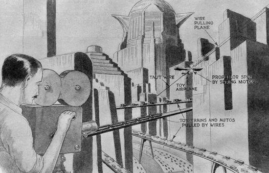 Illustration in Science and Invention magazine, explaining the special effects for Metropolis (1927)