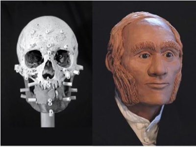 This facial reconstruction envisions what HMS Erebus engineer John Gregory may have looked like.