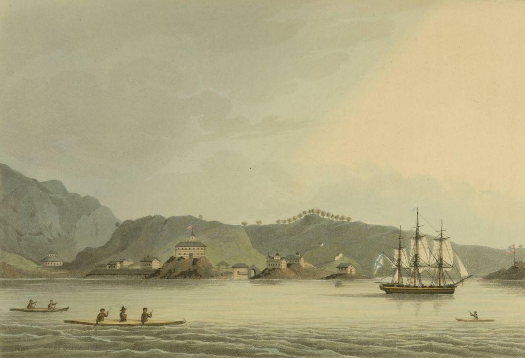 """Russian Sloop-of-War Neva"" by Drawn by Capt Lisiansky, engraved by I. Clark. (Public Domain, Wikimedia Commons)"