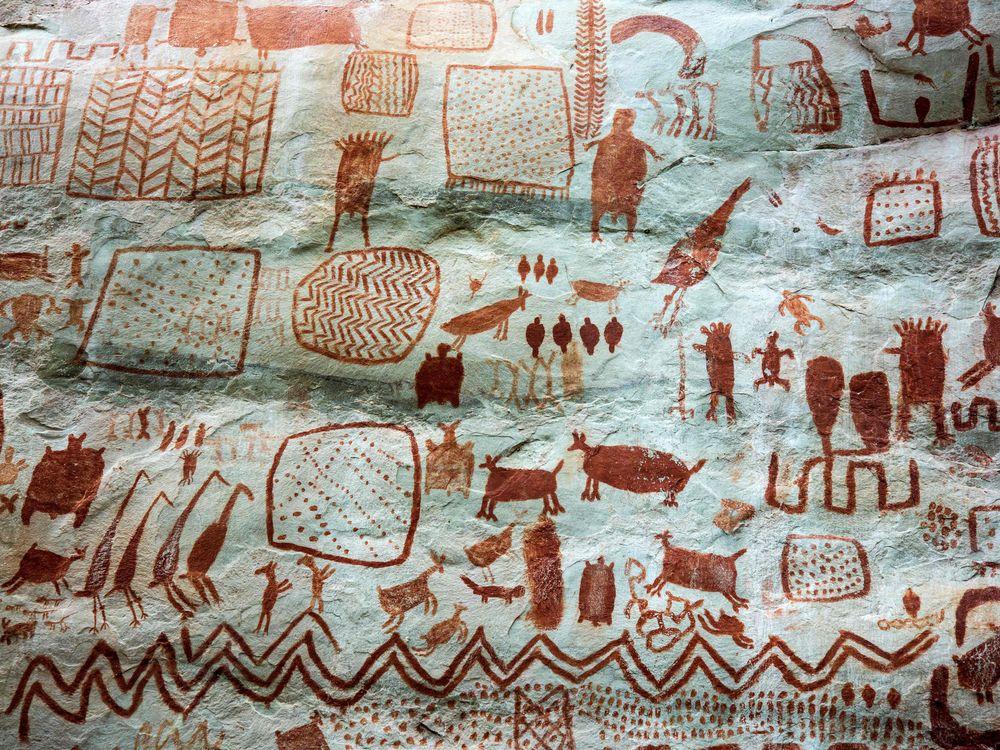 Detail of cave art at the Cerro Azul, in Serrania La Lindosa