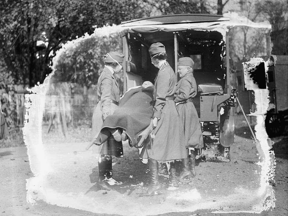 Demonstration at the Red Cross Emergency Ambulance Station in Washington, D.C., during the influenza pandemic of 1918