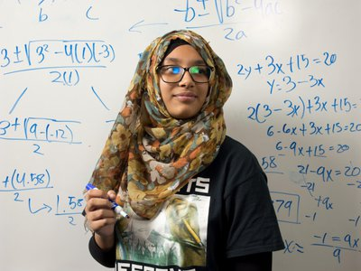 """The focus on achievement and social justice is transformative, says Sumaiya Sabnam, at work on equations. """"I call myself a student activist,"""" she says."""