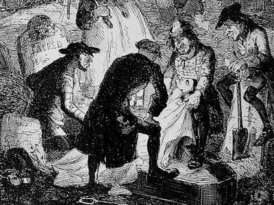 """An 1887 illustration by British artist Hablot Knight Browne of """"resurrectionists"""" stealing dead bodies from a graveyard."""