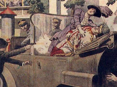 A contemporary painting depicting—rather sensationally—the murder of Archduke Franz Ferdinand and his wife, Sophie. The events surrounding their deaths have attracted abundant rumor and legend, none stranger than the suggestion that the car that they were murdered in was cursed.