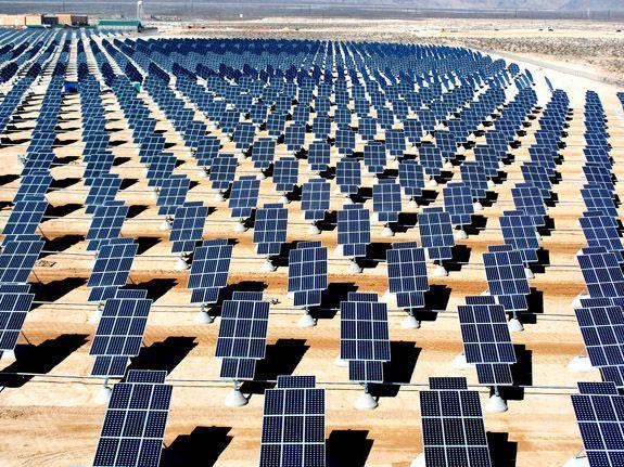 A solar farm at Nellis Air Force Base, Nevada