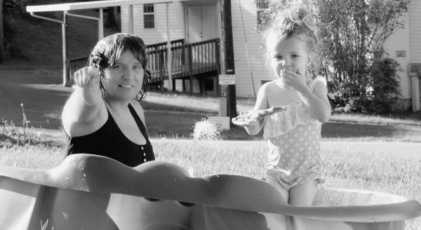 A pool pizza party in Nana's yard thumbnail