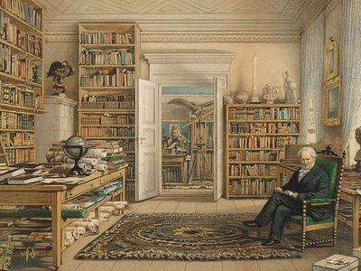 In the U.S., although Humboldt's name has vanished, his ideas have not (above: <em>Humboldt in His Library</em> (detail) by Eduard Hildebrandt, 1856).