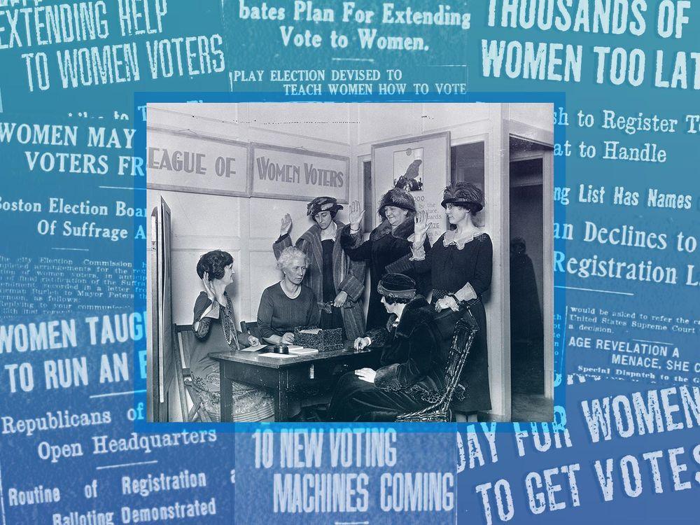 Women register to vote