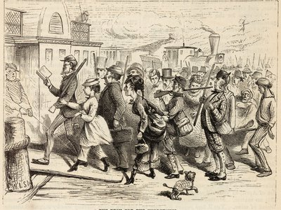"""""""The Rush"""" lampooned in an 1870 issue of Harper's Magazine"""